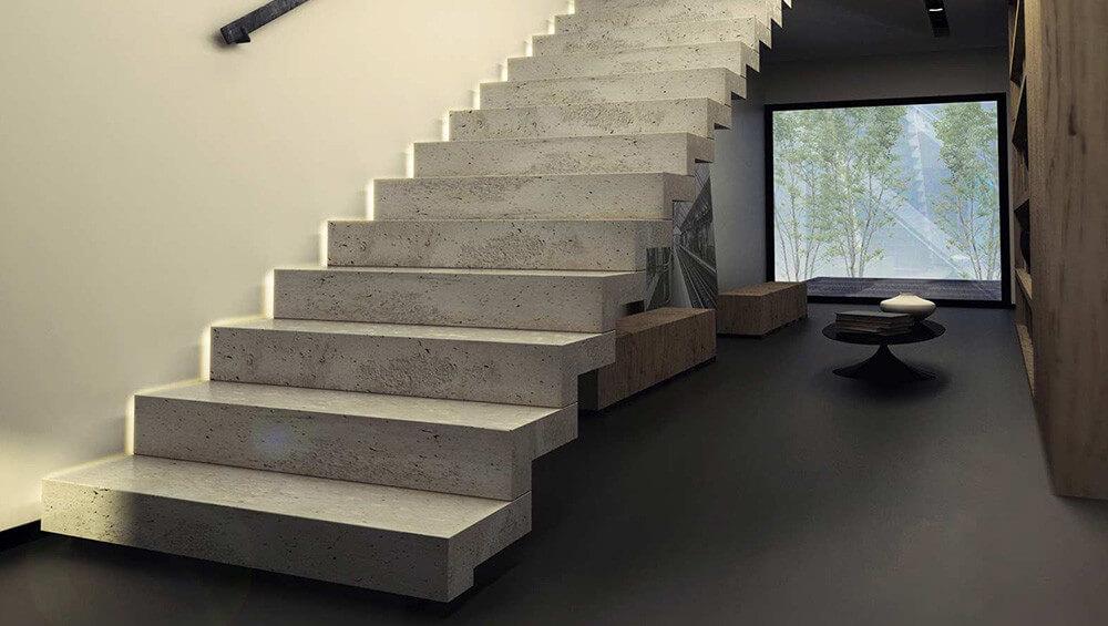 Combien coute un escalier en beton bois tout confort - Escalier contemporain beton ...